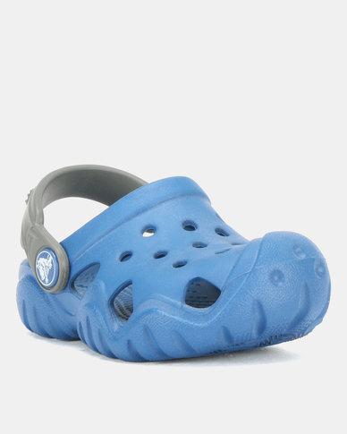 9da2b8b357f45 Crocs Kids Swiftwater Clogs Blue Jean Slate Grey