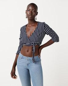 Sissy Boy Wrap Stripe Crop Top Navy/White