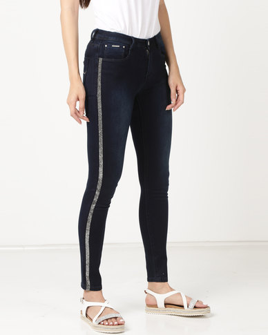 Sissy Boy Axel Mid Rise With Side Seam Detail Skinny Jeans Blue Black