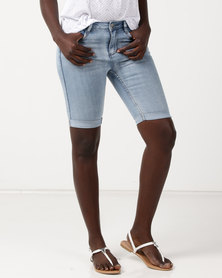 Sissy Boy Axel Mid Rise Bermuda With Embellished Pocket Detail Shorts Light Blue