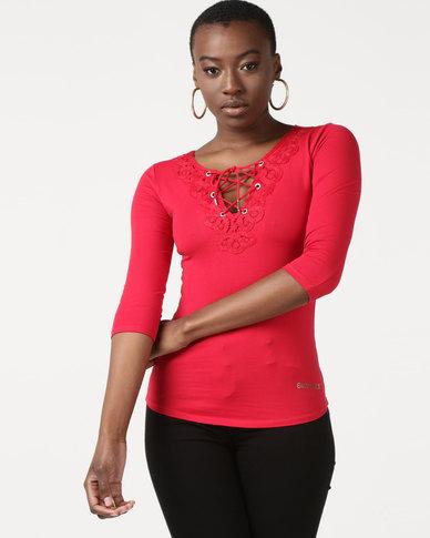 Sissy Boy Flower Crochet Sleeve Detail Top Red