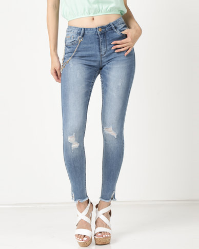 Sissy Boy Axel Mid Rise With Charm Detail Skinny Jeans Light Blue