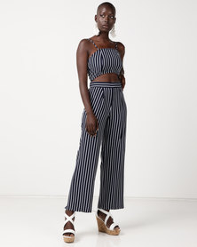 Sissy Boy Stripe Croppped Palazzo Pant Navy & White