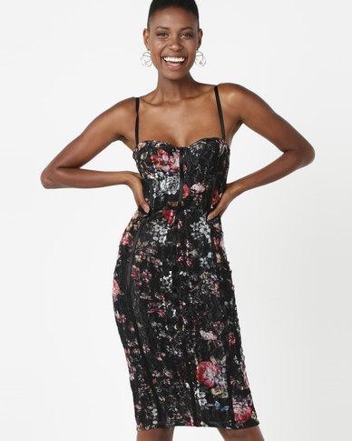 Sissy Boy Floral Detail Sweetheart Neckline Bodycon Dress Black