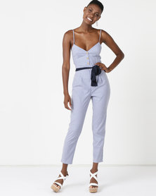 Sissy Boy Tie Detail Stripe Jumpsuit Blue