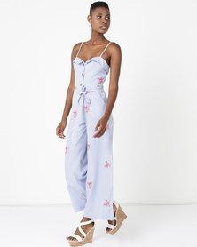Sissy Boy Floral Detail Linen Jumpsuit Blue/White