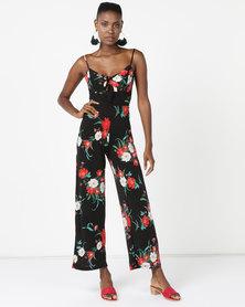 Sissy Boy Floral Detail Jumpsuit Black