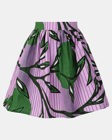 Black Buttons Kids Printed Skirt Purple