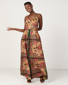Black Buttons Buhle Maxi Dress Brown Multi