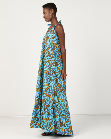 Black Buttons Babalwa Maxi Dress Blue Multi