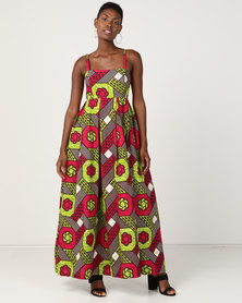 Black Buttons Anathi Maxi Dress Multi