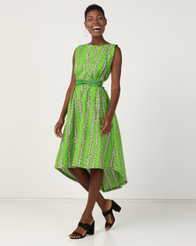 Black Buttons Alicia Dress Green