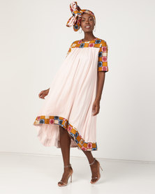 Black Buttons Amy Dress With Headwrap Cream Multi