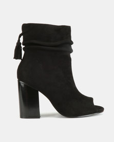Utopia Peep Toe Booties Black