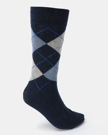 Klevas Don Argyle Socks Navy