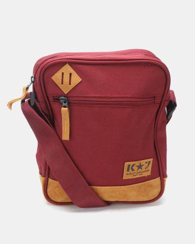 K7 STAR Slinger Cross Body Bag Burgandy