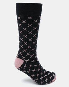 K7 STAR Siro Print Socks Navy