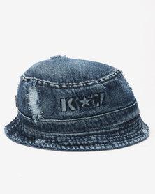 K7 STAR Ripper Denim Bucket Hat Indigo