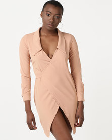 Daisy Street Wrap Dress Nude