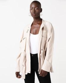 Glamzza Modern Utility Oversized Jacket Beige