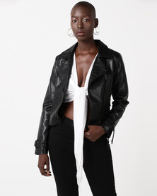 Glamzza Dylan Faux Leather Jacket Black