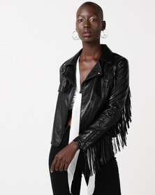 Glamzza Fringed Faux Leather Jacket Black