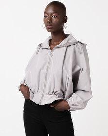 Glamzza Sporty Hooded Oversized Jacket Grey