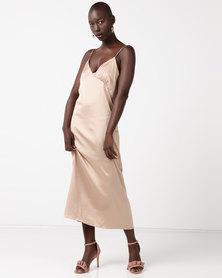 Glamzza Maxi Slip Dress Gold