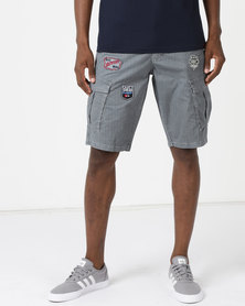 Soviet Thunder Printed Cargo Shorts Grey