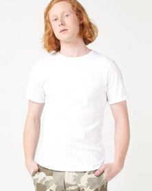Beaver Canoe Swagga Basic Crew Neck Roll-Up T-Shirt White