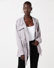Glamzza Modern Utility Oversized Jacket Grey