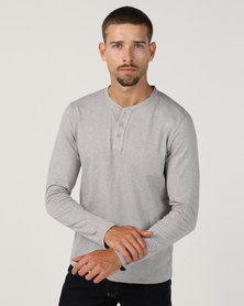 Utopia Basic Long Sleeve Henley Tee Grey