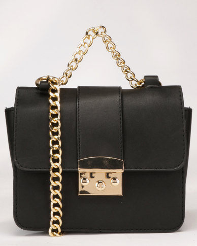 Legit Gold Clasp Chain Strap Cross Body Bag Black