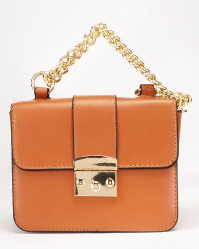 Legit Gold Clasp Chain Strap Cross Body Bag Tan