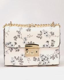 Legit Floral Print Box Satchel Cross Body Bag Beige