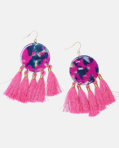 Legit Tassel Resin Drop Earrings Cerise