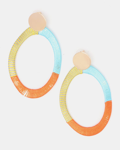 Legit Lime Orange Blue Thread Statement Earrings Multi