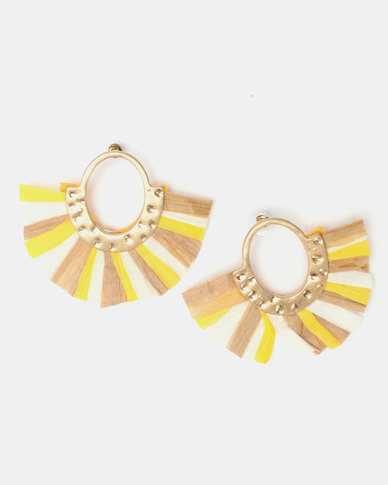 Legit Raffia Fan Statement Earrings Yellow