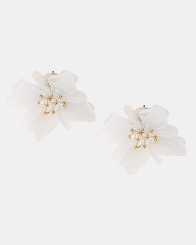 Legit Resin Flower Statement Stud Earrings White