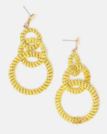 Legit 3 Ring Wrapped Statement Earrings Yellow