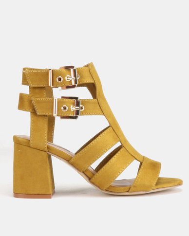 Legit Cage Block Heels With Double Buckles Chartreuse
