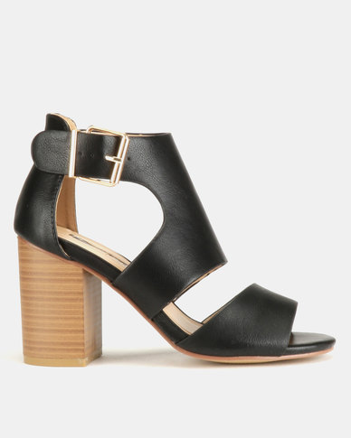 Legit Cage Block Heels With Buckle Black