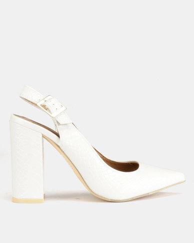 82177b200b9 Legit Textured Patent Pointy Slingback Block Heels White