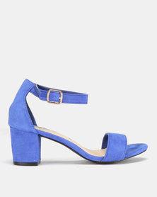 Legit Microfiber Block Heels Cobalt