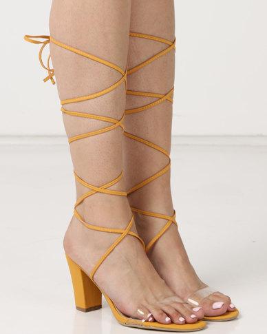 Legit Block Heel Sandals With Vinyl Vamp & Ankle Strap Lace-Up Mustard