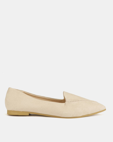 Legit Pointed Plain Loafers With Metal Heel Insert Taupe
