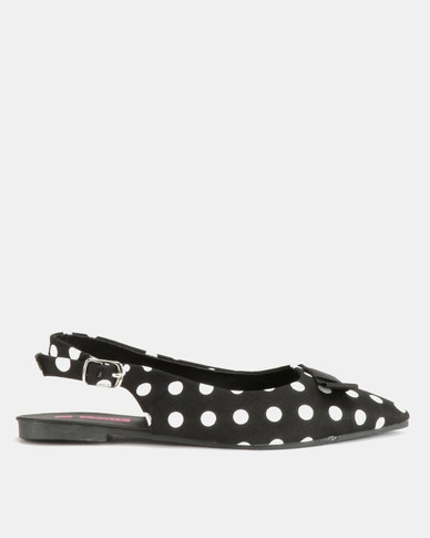 Legit Polka Dot Pointy Slingback with Petersham Bow Black
