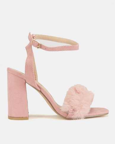ab27d0c3eb5 High Block Heels With Faux Fur Vamp Blush