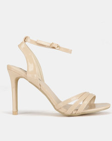 Legit Patent 3-Strap Vamp Heels Blush
