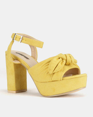 c13f288bbb4 Legit Low Platform Heels with Ankle Strap   Bow Detail Yellow